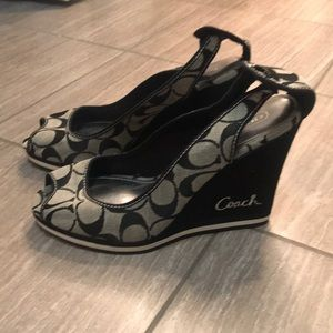 Coach wedge peep toes